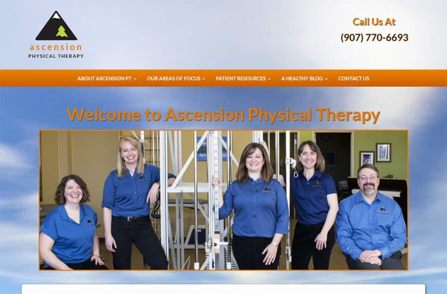 Screenshot of Ascension Physical Therapy website