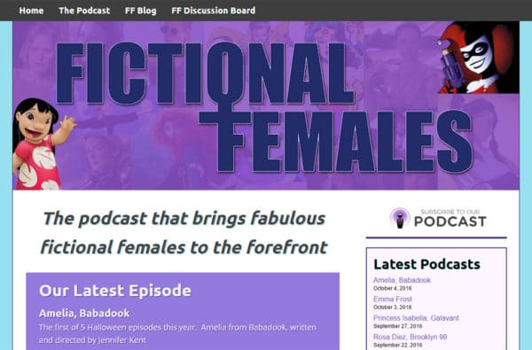 Screenshot of Fictional Females website
