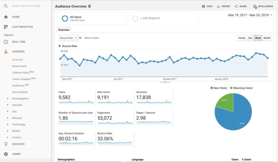 Picture of Google Analytics Dashboard